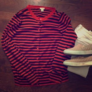 J. Crew Sweaters - JCrew Caryn Cardigan red and navy stipe